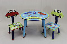 Kids Table and 2 Chairs Set  with Car Theme Back