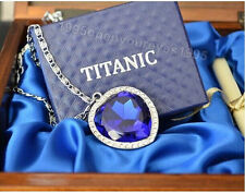 Titanic Heart of the Ocean Necklace with Wooden Box  For Valentine's Day Gift