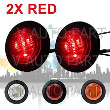2X 12V DC Round 6 RED Side Light LED Marker Trailer Truck Lamp SAE DOT Proof