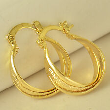 HOT SALE Classic 9K Yellow Gold Filled Womens Hoop Earrings 24mm ,NEW F5942