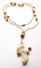 IMPRESSIVE LONG NATURAL TONED MIXED WOODEN BEAD & TASSEL PENDANT NECKLACE (ZX40)