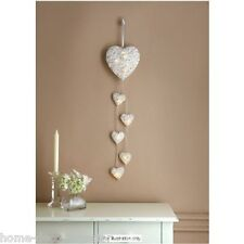 6 Hanging White Hearts Led Light  Rattan Effect Shabby Chic  New Home Wall Gift
