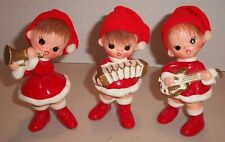 3 Vintage Mid Century Christmas Elves in Santa Hats playing Musical Instruments!
