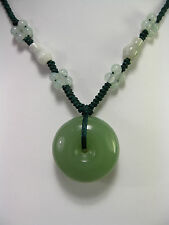 Handcrafted knot work cord adjustable natural jade Safety bless pendant/necklace