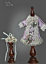 Silk Mignonette Dress & Hat 4 Porcelain Doll Antique Reproduction French German