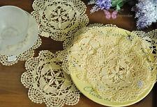 """6pcs 6"""" Round Hand Bobbin Lace Butterfly Cotton Doily Cupmat Ecru 15cm SALE"""