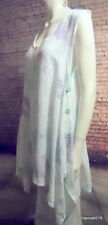 Eden rock linen lagenlook tunic white mint lilac sleeveless L 50""
