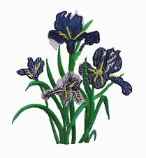 """#6772 4-3/8""""x4-7/8"""" Lilac White Iris Flower Embroidery Iron On Applique Patch"""