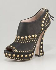 "NW MIU MIU STUDDED SUEDE ANKLE BOOTS CURVE HEEL SZ38""RET$595WHAT BARGAIN"