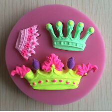 New ! 3D Crown Silicone Fondant Mold Chocolate Baking Mould Cake Decorating X1