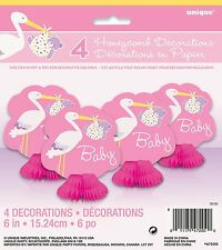 Baby Girl Pink Stork 8 Honeycomb Decorations Baby Shower Party Supplies