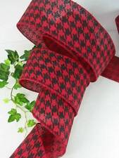 """8 Yards Red Black Houndstooth  2 1/2 """" Wire Edge Ribbon Bows Wreaths"""
