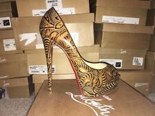 Christian Louboutin Lady Peep 150 Santa Fe Printed Graffiti Nude 40 Pumps Shoes