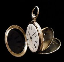Hand Engraved Silver Pocket Watch Key Wind/ Set Swiss Compensation Balance 1870