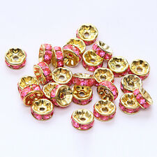 20pcs Plated gold crystal spacer beads Charms Findings 8mm FREE SHIPPING #48