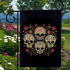 Sugar Skulls Gothic New Small Garden Yard Flag Home, Day of the Dead