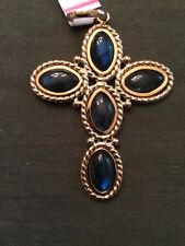 "14k cross pendant 2 1/2"" w/oval rope design around inlay iridescent Lab Gems"