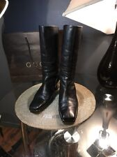 Gucci Authentic Black Boots Soft Leather W/Tassels Women's Sz 38.5/US8.5 Italy