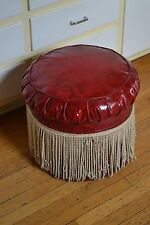 "1950's 19"" Vintage Red Round Orange Vinyl Ottoman Footstool! Ships FAST Large"