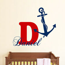 Monogram Wall Decals Boy Name Decal Anchor Vinyl Stickers Bedroom Decor kk654