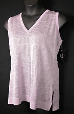 MISOOK COLLECTION Womens SPARKLE V-NECK TANK Shell 1X Light Purple Sheer New NWT