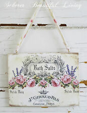 Shabby Sign Rose Chic Plaque Wall Decor Hanging Paris Bath Romantic French Art