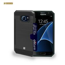 For Samsung Galaxy S7 Slim Black Case with Card Holder stand  Screen Protector