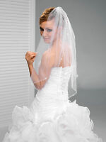 "1T White/Ivory Wedding Prom Bridal Fingertip Veil With Comb 36""-Curled Beads"