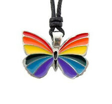 Gay Rainbow Butterfly Pendant - LGBT Gay & Lesbian Pride Necklace