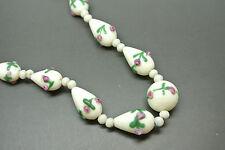 VINTAGE ITALIANO VENEZIANO WHITE ROSE Art Deco Vetro Perline Collana