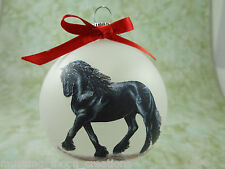 Hand-made Christmas Ornament HORSE- black friesian trot H031