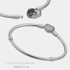 "Authentic Pandora Sterling Silver C.Z Pave Heart Bracelet 6.3"" 590727CZ-16"