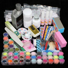 42 Acrylic Nail Art Powder Liquid Tips Brush Glitter Clipper Primer File Set Kit