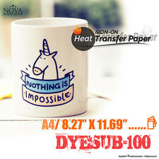 """Heat Transfer Paper DYESUB-100 A4 (8.27"""" x 11.69"""") Pack of 100 Sheets"""