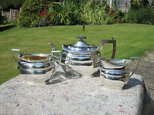 Superb Heavy Solid Silver And Gilt Edwardian 3 Piece Tea Set William Aitken 1905