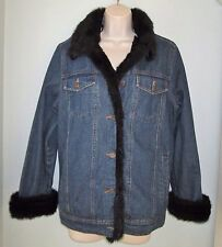 Dennis Basso 2 Pc Jean Jacket w/ Faux Mink Trim + Removable Faux Mink Vest Small