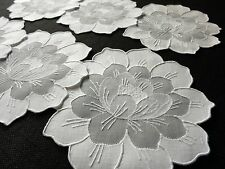 LOTUS ~WATER LILY Flower Vtg Madeira Embroidery 6 Cocktail Napkins Linen Organdy