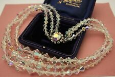 VINTAGE 3 ROW CRYSTAL GLASS NECKLACE - FABULOUS FOR VINTAGE WEDDING / BRIDAL