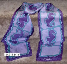 Magical Sea Horse Hand-painted Silk Scarf by Rollin