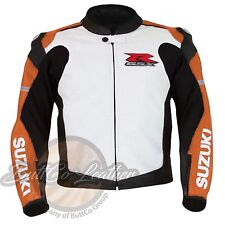 Moto Leather Biker Jacket SUZUKI 1078 Riding Orange Motorbike Motorcycle Cloth
