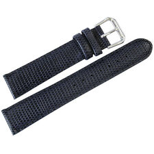17mm deBeer Mens Navy Blue Lizard-Grain Leather Watch Band Strap