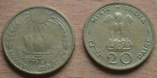 India-Aluminium-Bronze-Sun-Lotus-1970-Food For All (F.A.O Series ) 20 Paise