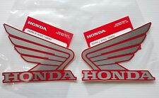 Honda  Wing Fuel Tank Decal Wings Sticker 2 x 100mm Silver & Red 100% GENUINE