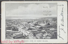 Vintage Postcard Birds eye view of Coney Island posted to 4 Duke Street London
