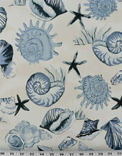 Drapery Upholstery Fabric Indoor/Outdoor Tropical Sea Shells - Blue / Ivory