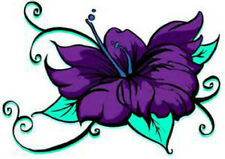 20  WATER SLIDE NAIL ART  DECAL TRANSFERS PURPLE FLOWER WITH TEAL DESIGN