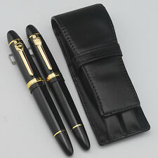 2 Pcs Jinhao 159 Black And Gold Fountain Pen & Roller Pen / Leather Pen Case