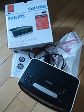 IMPORTED PHILIPS RADIO ALARM CLOCK black silver RARELY USED