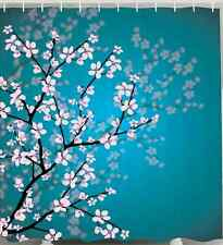 TEAL SHOWER CURTAIN Cherry Blossom Bud Reflections Flower Tree Fabric Bath Decor