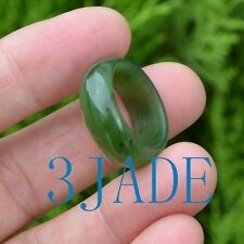 Natural Green Nephrite Jade Fine Carved Ring Size 8